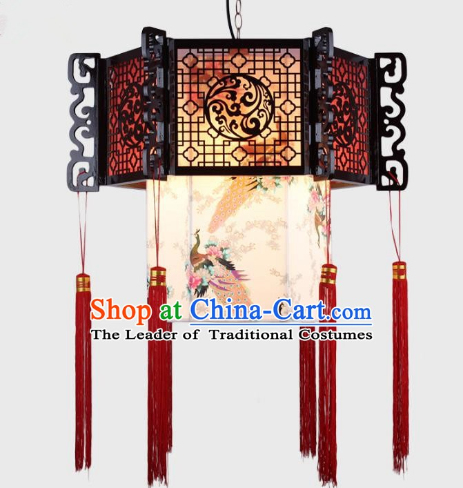 Traditional Chinese Handmade Printing Peacock Sheepskin Lantern Classical Palace Lantern China Ceiling Palace Lamp