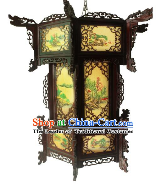 Traditional Chinese Handmade Sheepskin Ceiling Lantern Classical Hexagon Palace Lantern China Palace Lamp