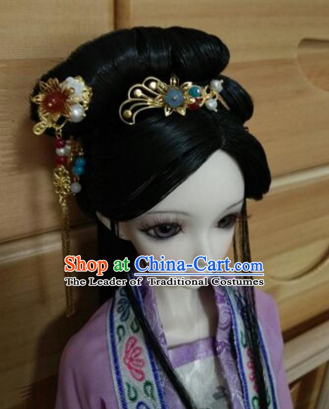 Traditional Handmade Chinese Ancient Classical Hair Accessories and Wig Complete Set Hairpins for Women
