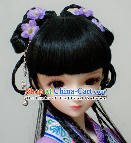 Traditional Handmade Chinese Ancient Young Lady Princess Hair Accessories Hairpins and Wig for Women