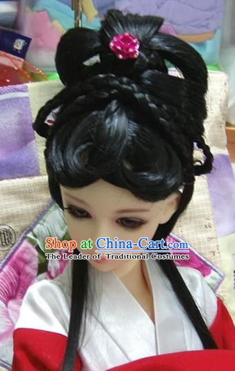 Traditional Handmade Chinese Ancient Princess Hair Accessories Palace Lady Wig for Women