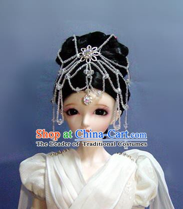 Traditional Handmade Chinese Ancient Han Dynasty Palace Lady Hair Accessories and Wig Sheath Fairy Princess Wig for Women