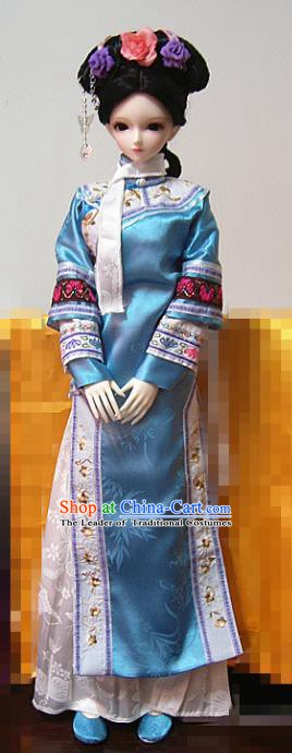 Traditional Ancient Chinese Imperial Concubine Costume, Chinese Qing Dynasty Manchu Lady Embroidered Clothing for Women