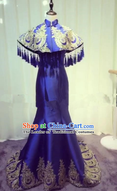 Chinese Style Wedding Catwalks Costume Wedding Bride Embroidery Trailing Full Dress Compere Cheongsam for Women