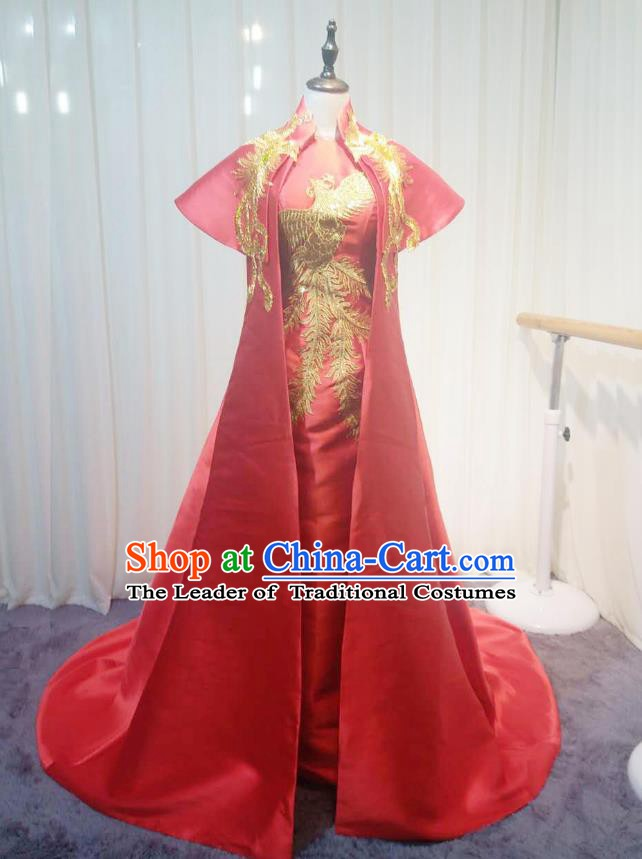 Chinese Style Wedding Catwalks Costume Wedding Red Fishtail Full Dress Compere Bride Embroidered Phoenix Cheongsam for Women