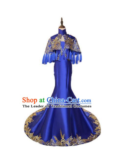Chinese Style Wedding Catwalks Costume Wedding Blue Fishtail Full Dress Compere Embroidered Cheongsam for Women