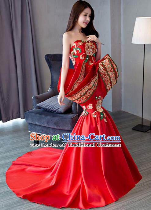 Chinese Style Wedding Catwalks Costume Wedding Trailing Red Full Dress Compere Embroidered Cheongsam for Women