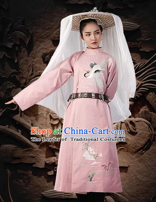 Traditional Chinese Tang Dynasty Imperial Bodyguard Costume Embroidered Pink Round Collar Robe for Women