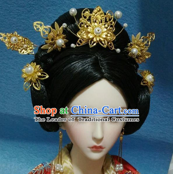 Traditional Handmade Chinese Tang Dynasty Empress Hair Accessories Hairpins and Wig for Women