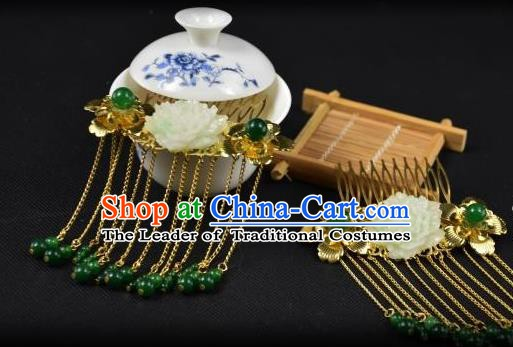 Traditional Handmade Chinese Hair Accessories Hairpins Green Beads Tassel Hair Stick Headwear for Women