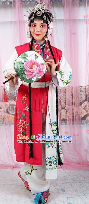 Chinese Beijing Opera Young Lady Embroidered Red Costume, China Peking Opera Actress Embroidery Clothing
