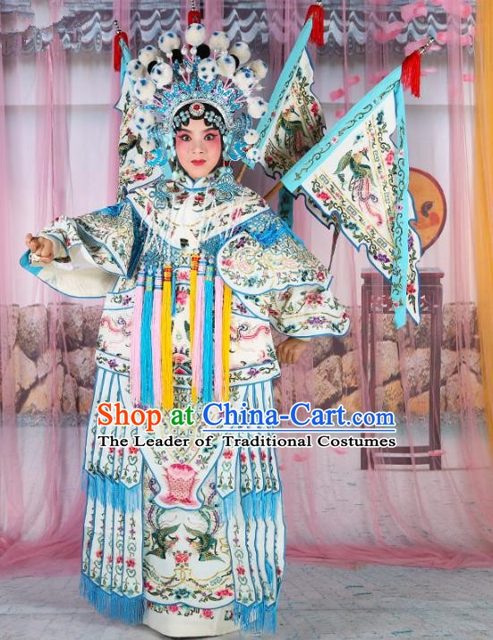 Chinese Beijing Opera Young Lady Embroidered White Costume, China Peking Opera Actress Embroidery Clothing