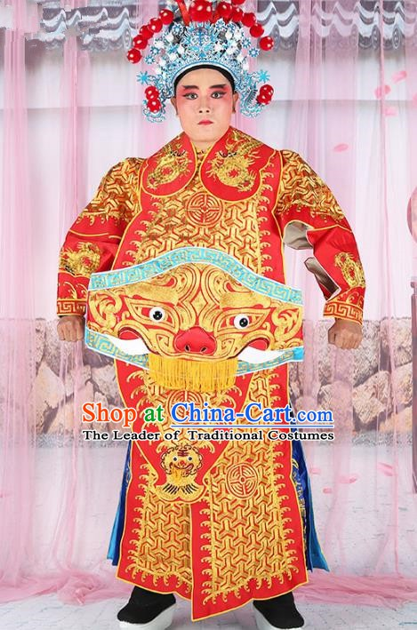 Chinese Beijing Opera General Costume Red Embroidered Robe, China Peking Opera Officer Embroidery Gwanbok Clothing
