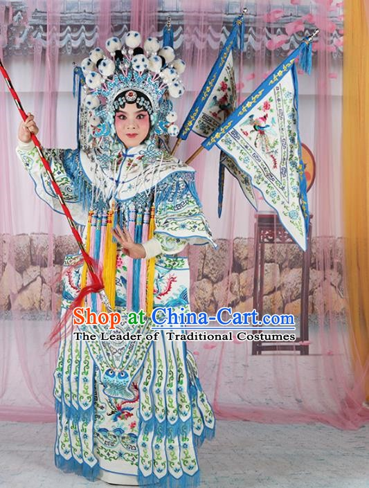 Chinese Beijing Opera Female General Costume White Embroidered Robe, China Peking Opera Blues Embroidery Gwanbok Clothing