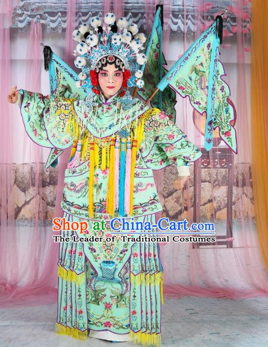 Chinese Beijing Opera Female General Costume Light Green Embroidered Robe, China Peking Opera Blues Warrior Embroidery Gwanbok Clothing