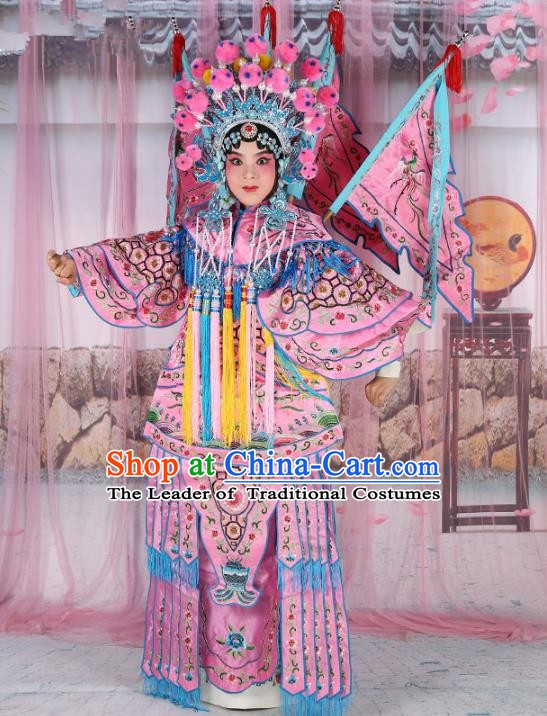 Chinese Beijing Opera Female General Costume Pink Embroidered Robe, China Peking Opera Blues Warrior Embroidery Gwanbok Clothing