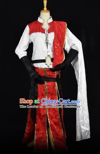 Traditional Chinese Ancient Swordsman Embroidered Costume Han Dynasty Kawaler Clothing for Men