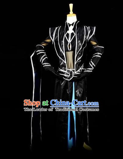 Traditional Chinese Ancient Swordsman Black Costume Han Dynasty Kawaler Clothing for Men