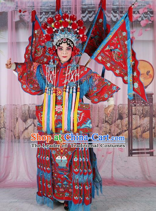 Chinese Beijing Opera Female General Costume Red Embroidered Robe, China Peking Opera Blues Warrior Embroidery Gwanbok Clothing