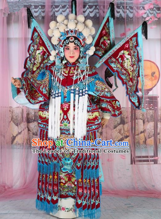 Chinese Beijing Opera Female Swordplay Wine Red Embroidered Costume, China Peking Opera Blues Embroidery Gwanbok Clothing