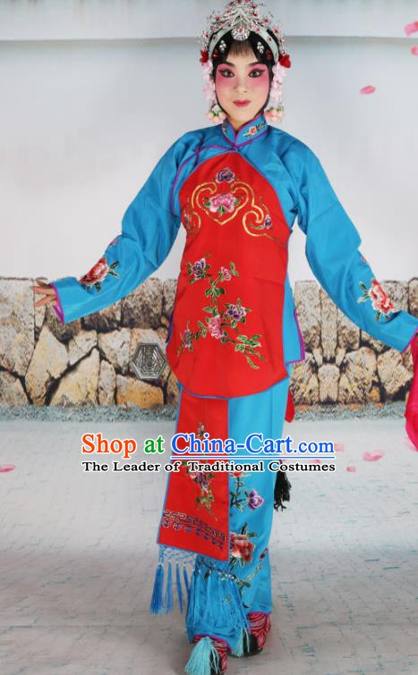 Chinese Beijing Opera Servant Girl Red Embroidered Costume, China Peking Opera Actress Embroidery Clothing