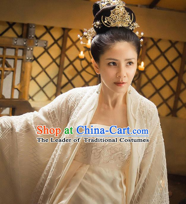 Traditional Chinese Ancient Tang Dynasty Palace Lady Embroidered Costume and Headpiece Complete Set