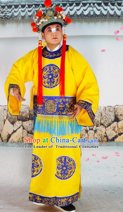 Chinese Beijing Opera Court Eunuch Costume Yellow Embroidered Robe, China Peking Opera Officer Embroidery Clothing