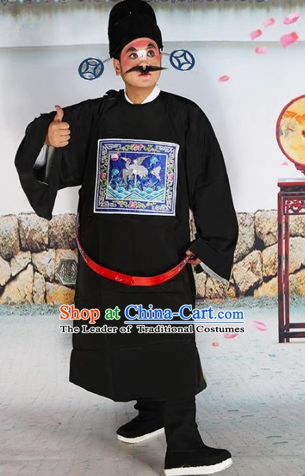 Chinese Beijing Opera County Magistrate Costume Black Embroidered Robe, China Peking Opera Officer Embroidery Clothing