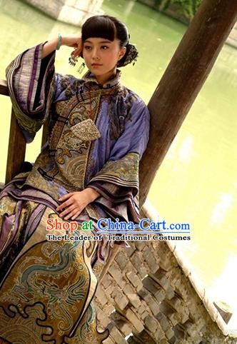 Traditional Chinese Ancient Republic of China Nobility Young Mistress Embroidered Xiuhe Suit Costume