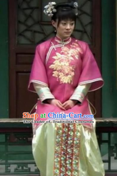 Traditional Chinese Ancient Qing Dynasty Manchu Lady Imperial Consort Embroidered Costume