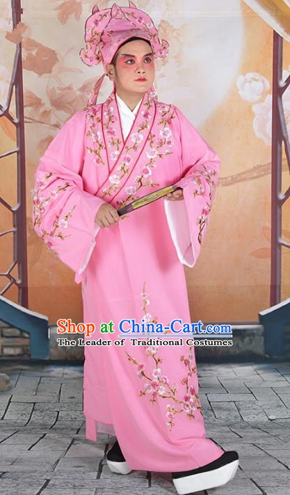 Chinese Beijing Opera Niche Costume Pink Embroidered Robe, China Peking Opera Scholar Embroidery Wintersweet Clothing