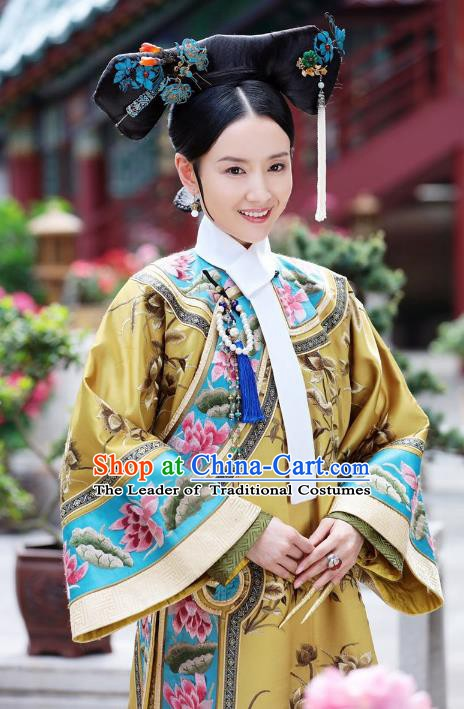 Traditional Chinese Ancient Qing Dynasty Manchu Imperial Empress Embroidered Costume and Headpiece Complete Set