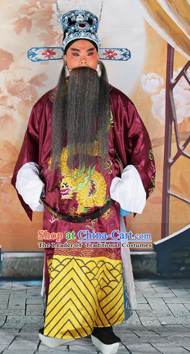 Chinese Beijing Opera Prime Minister Costume Embroidered Robe, China Peking Opera Officer Embroidery Clothing