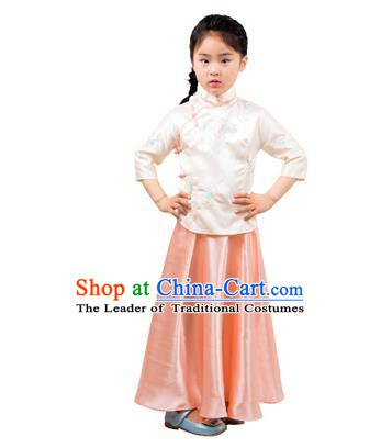 Traditional Chinese Ancient Republic of China Nobility Lady Costume Embroidered Champagne Blouse and Skirt for Kids