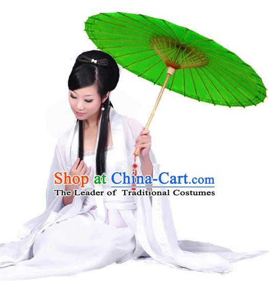 China Traditional Dance Handmade Umbrella Green Oil-paper Umbrella Stage Performance Props Umbrellas