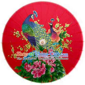 China Traditional Dance Handmade Umbrella Printing Peacock Prony Red Oil-paper Umbrella Stage Performance Props Umbrellas
