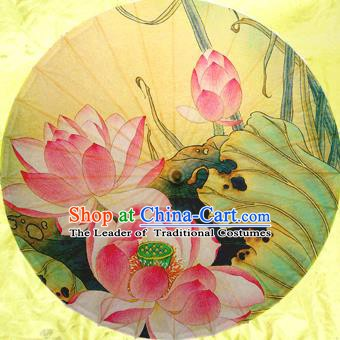 Handmade China Traditional Dance Painting Lotus Umbrella Oil-paper Umbrella Stage Performance Props Umbrellas