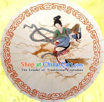 China Traditional Dance Handmade Umbrella Printing Goddess in the Moon Oil-paper Umbrella Stage Performance Props Umbrellas