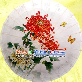 Handmade China Traditional Dance Umbrella Classical Painting Chrysanthemum Butterfly Oil-paper Umbrella Stage Performance Props Umbrellas