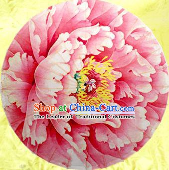 Handmade China Traditional Dance Umbrella Classical Painting Peony Pink Oil-paper Umbrella Stage Performance Props Umbrellas