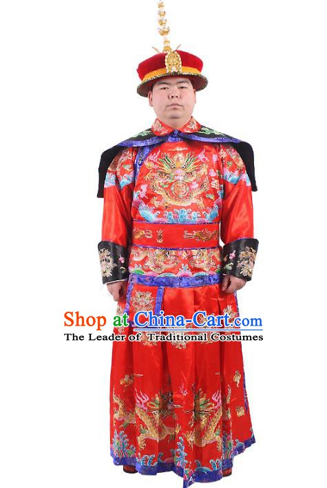 Chinese Beijing Opera Qing Dynasty Emperor Costume Embroidered Robe, China Manchu Majesty Embroidery Clothing
