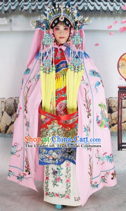 Chinese Beijing Opera Empress Costume Pink Embroidered Cloak, China Peking Opera Actress Embroidery Mantle Clothing