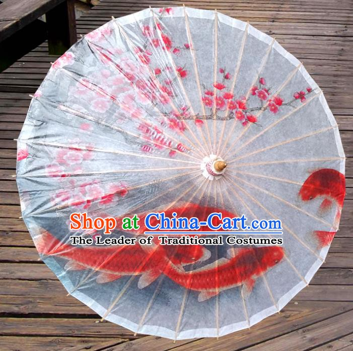 Handmade China Traditional Folk Dance Umbrella Painting Peach Blossom Fishes Oil-paper Umbrella Stage Performance Props Umbrellas
