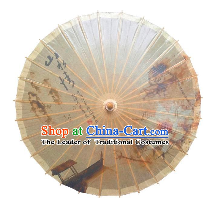 Handmade China Traditional Folk Dance Umbrella Ink Painting Lotus Oil-paper Umbrella Stage Performance Props Umbrellas