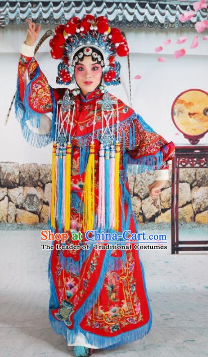 Chinese Beijing Opera Martial Lady Embroidered Red Costume, China Peking Opera Blues Embroidery Clothing