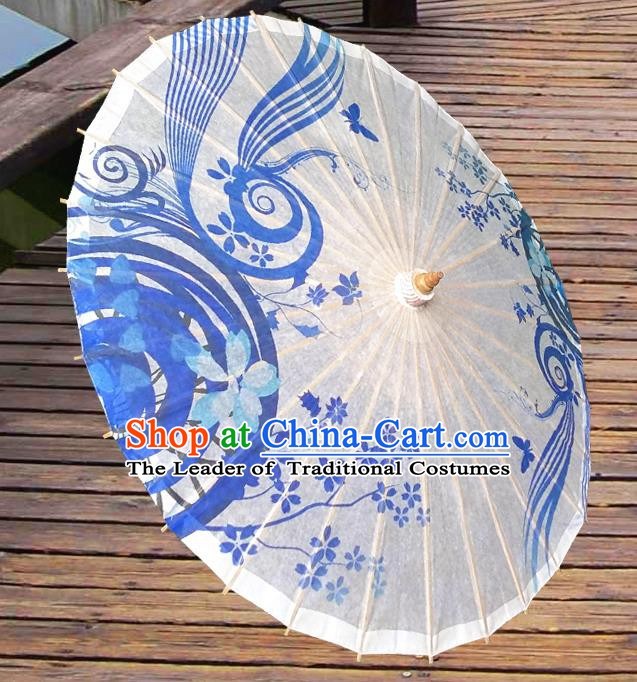 Handmade China Traditional Folk Dance Umbrella Printing White Oil-paper Umbrella Stage Performance Props Umbrellas