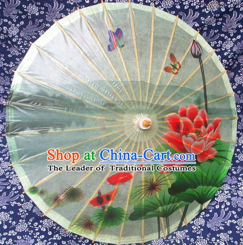 Handmade China Traditional Folk Dance Umbrella Printing Lotus Green Oil-paper Umbrella Stage Performance Props Umbrellas