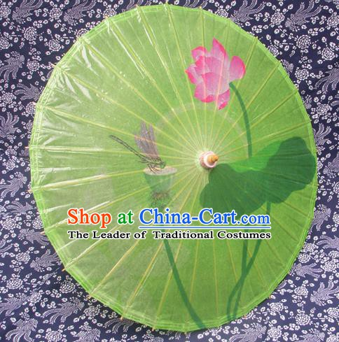Handmade China Traditional Folk Dance Umbrella Stage Performance Props Umbrellas Printing Lotus Green Oil-paper Umbrella