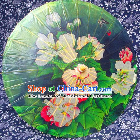 Handmade China Traditional Folk Dance Umbrella Stage Performance Props Umbrellas Printing Peony Green Oil-paper Umbrella