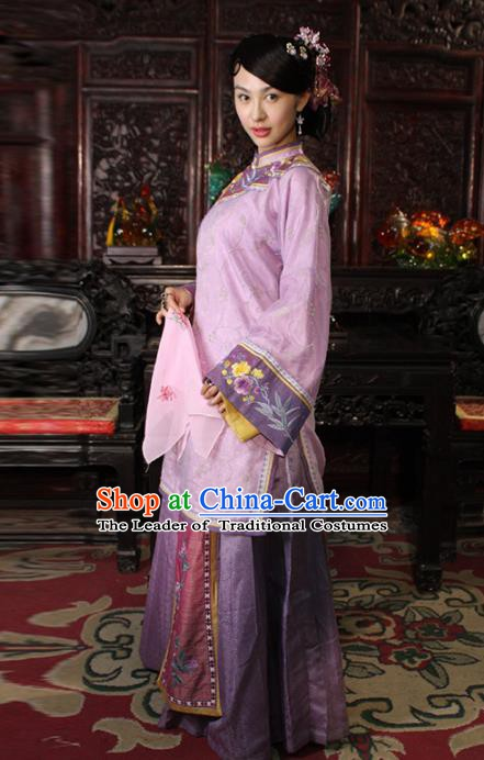 Traditional Chinese Ancient Qing Dynasty Young Mistress Embroidered Purple Xiuhe Suit Clothing for Women